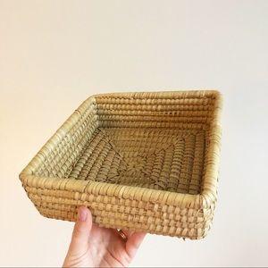 Vintage Coiled Wicker Basket Tray Centerpiece Boho